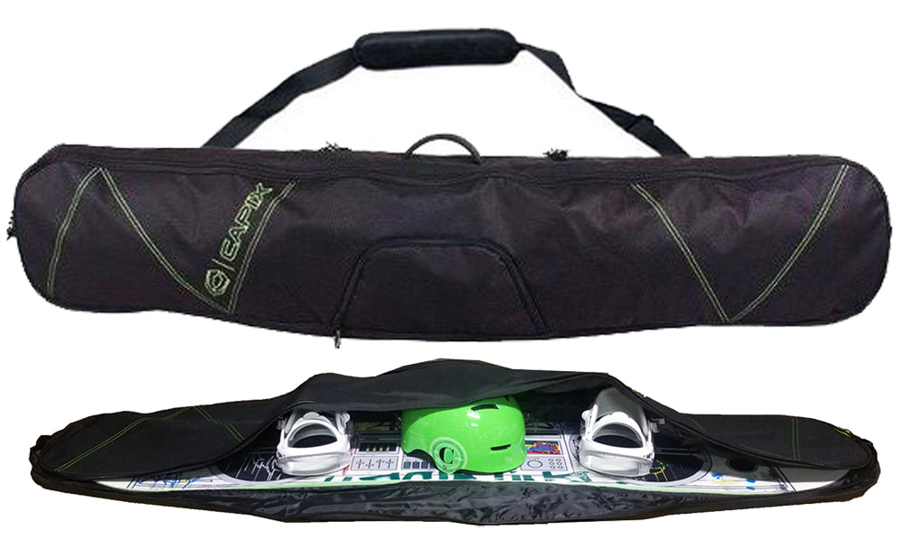 Capix Semi Padded Black Snowboard Skis Bag w/ Carry Strap for Travel.