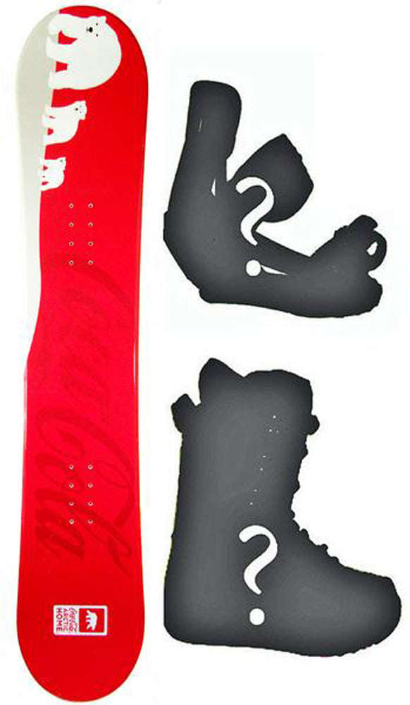 150cm Coca Cola, W-Camber Snowboard, Build a Package with Boots and Bindings.