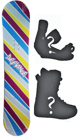 130cm  Defiance Team Rainbow Rocker Snowboard, Build a Package with Boots and Bindings
