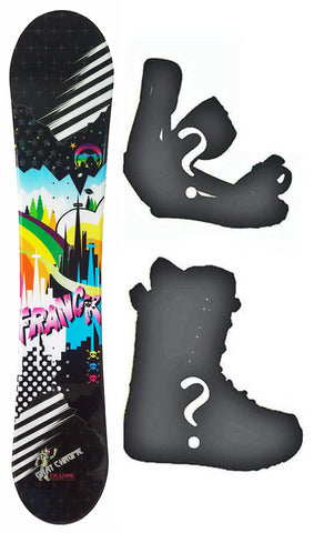 140cm Frank Great Chrome, Rocker Womens Snowboard, Build a Package with Boots and Bindings.