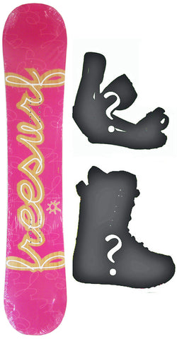 147cm  Free Surf Cursive Pink Rocker Snowboard, Build a Package with Boots and Bindings