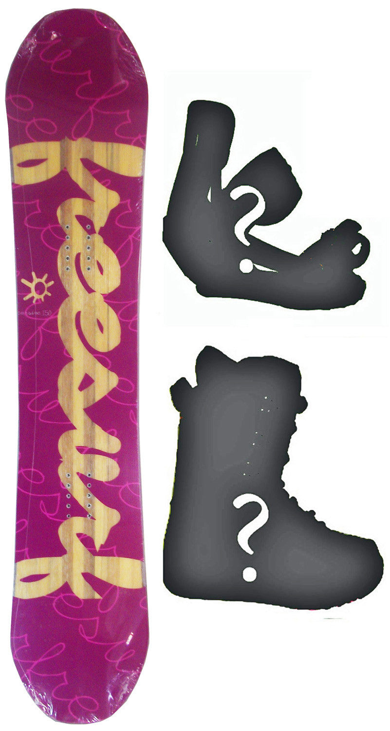 140cm  Free Surf Cursive Purple Rocker Snowboard, Build a Package with Boots and Bindings