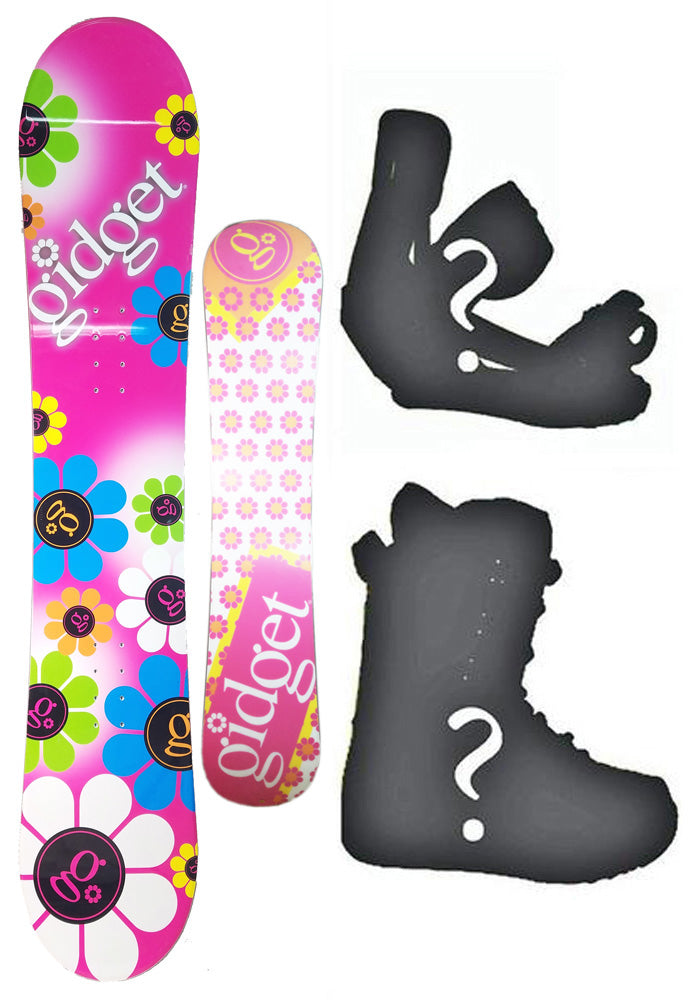 140cm Gidget Floral Pink Camber Snowboard, Build a Package with Boots and Bindings.