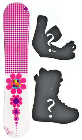 138cm Gidget Flower Camber Womens Snowboard, Build a Package with Boots and Bindings.