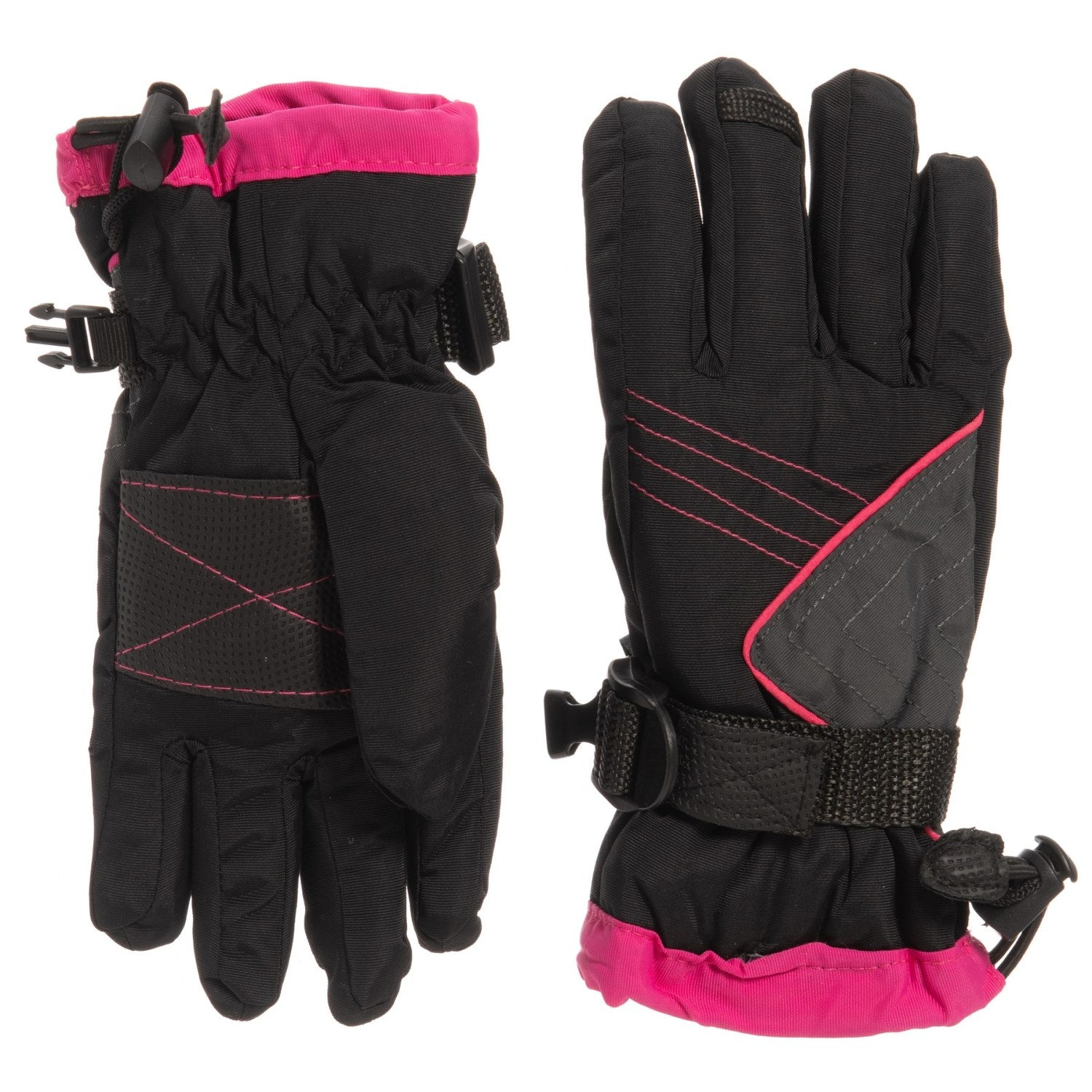 Igloos AquaE4 Snowboard / Ski Gloves - Waterproof, Insulated Black Pink Kid Youth S/M - M/L