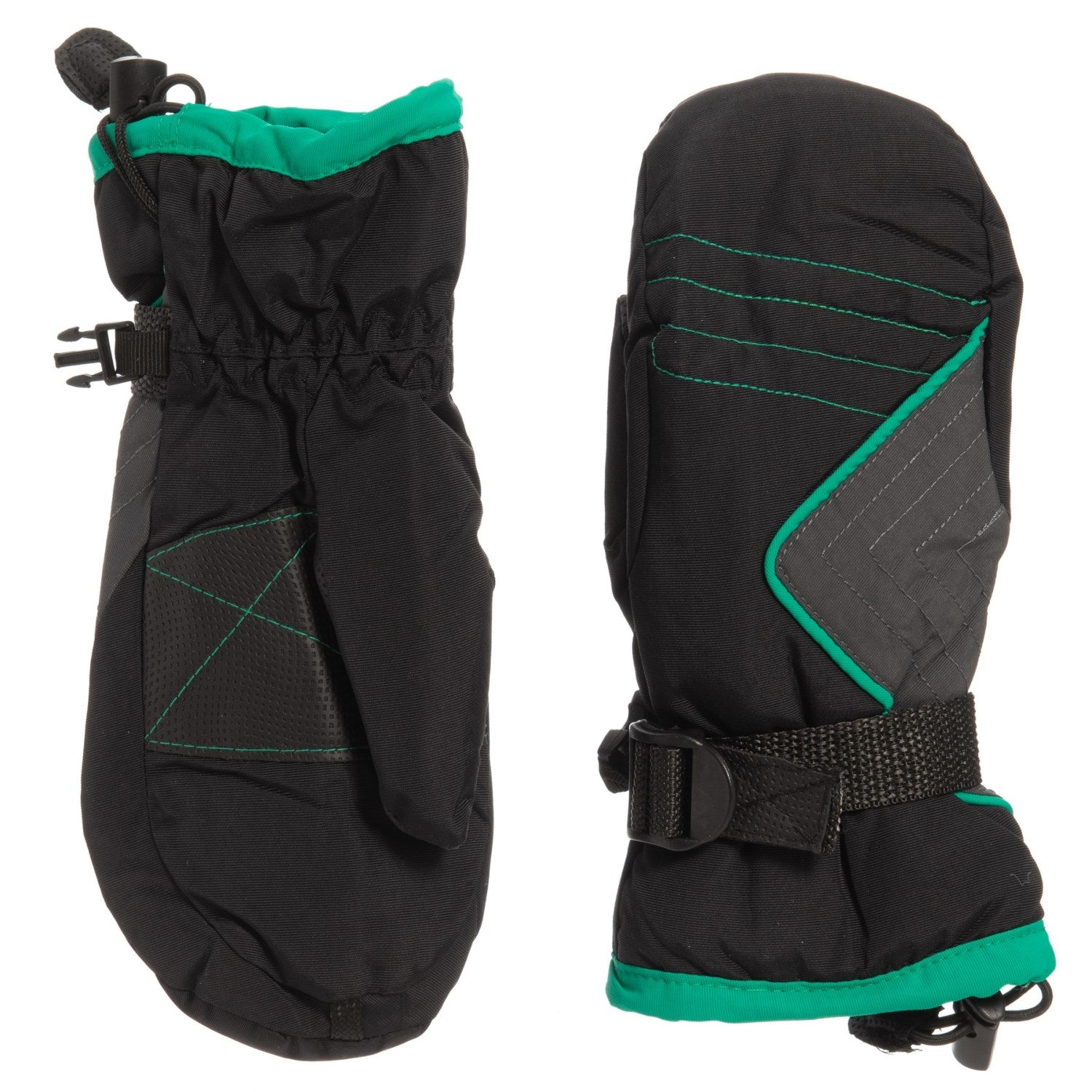 Igloos AquaE4 Snowboard / Ski Mittens - Waterproof, Insulated Black Green Kid Youth S/M - M/L