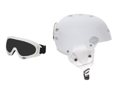 Capix Gambler Helmet & Goggles Recon Combo White Gloss Snowboard Ski Package S / M
