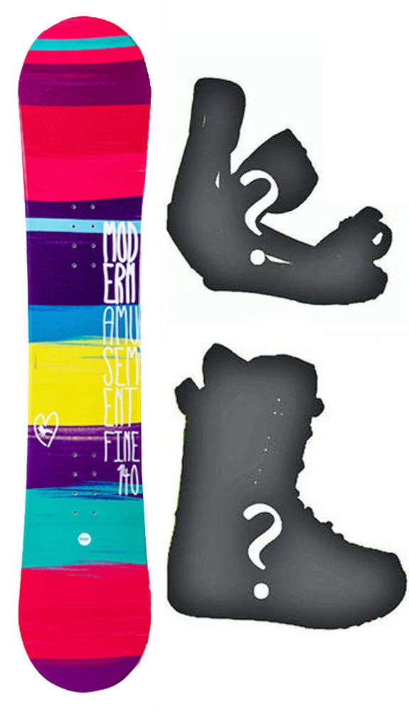 140cm Modern Amusement Fine Pink, Camber Womens Snowboard, Build a Package with Boots and Bindings.
