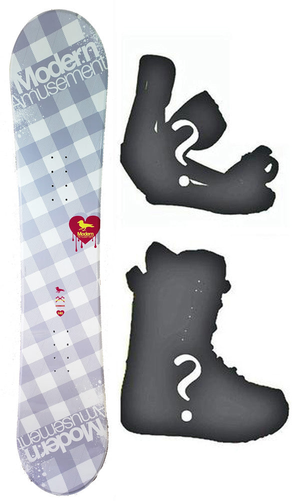 140cm Modern Amusement B.R.D Blem Womens's Girl's Snowboard, or Build a Package with Boots and Bindings