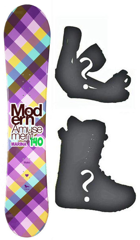 140cm Modern Amusement Marina Teal Womens Snowboard, Build a Package with Boots and Bindings.