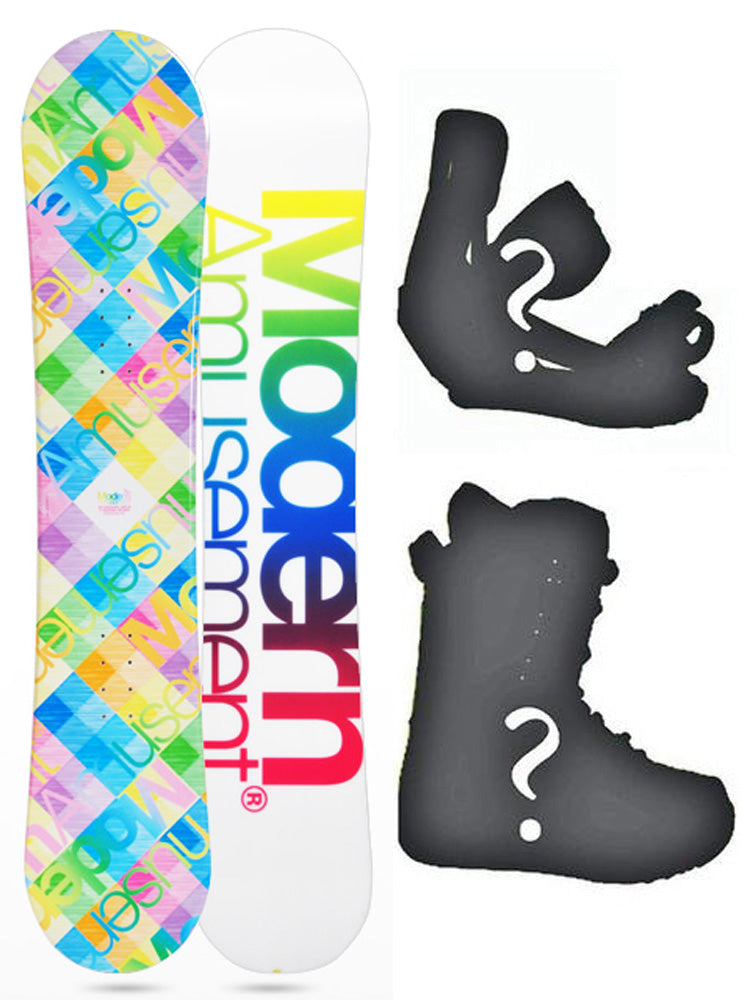 144cm Modern Amusement Santa Monica White, Camber Womens Snowboard, Build a Package with Boots and Bindings.