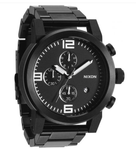 NIXON The Ride Dodge Mens Stainless Steel Analog Black Dial Watch 49mm Rare