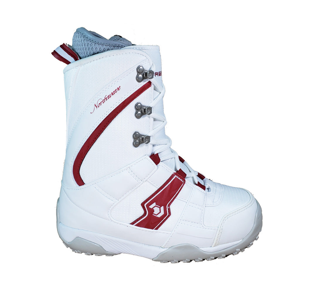 Northwave Freedom Lace Snowboard Boots White Red Kids Size 4