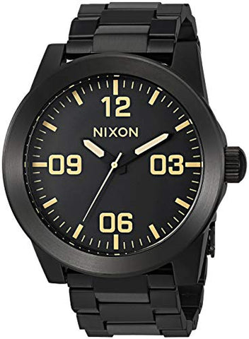 NIXON CORPORAL TAKE CHARGE WATCH BLACK GOLD YELLOW 48 MM LAST 1