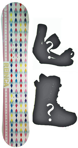 137cm  Reinca Japan White W-Rocker Snowboard, Build a Package with Boots and Bindings