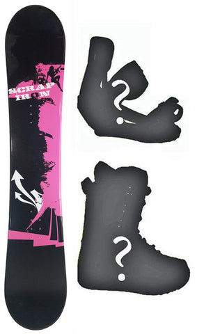 150 Scrap Iron Maffia Rocker womens Blem Snowboard, Build a Package with Boots and Bindings.