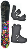140cm Sionyx Bloom Black, Camber Womens Blem Snowboard, Build a Package with Boots and Bindings.