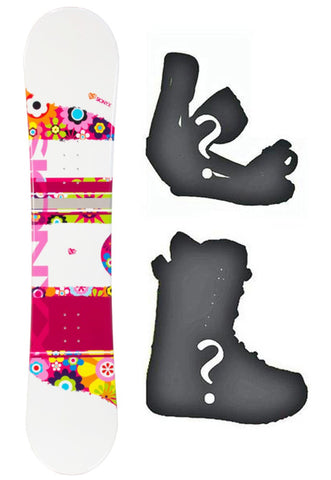 138cm Sionyx Flower White Camber Womens Snowboard, Build a Package with Boots and Bindings.