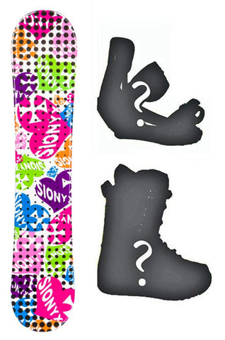 135cm Sionyx Hearts White Camber Womens Snowboard, Build a Package with Boots and Bindings.