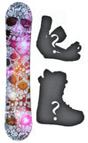 144cm Sionyx Skull Flower, Camber Womens Snowboard, Build a Package with Boots and Bindings.
