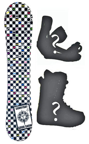 135cm SLQ Tone Sun Rocker Blem Snowboard, Build a Package with Boots and Bindings.