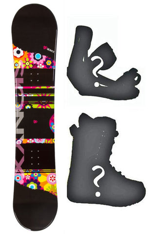 139cm Sionyx Flowers Black Camber Womens - Girls Blem Snowboard, or Build a Package with Boots and Bindings.