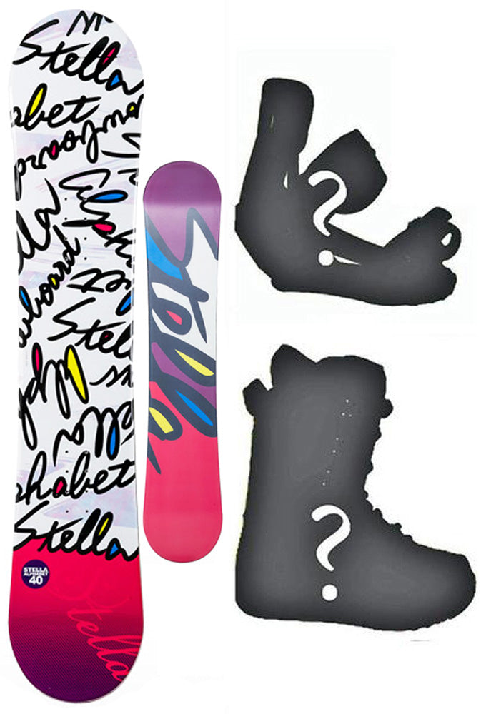 144cm Stella Alphabet White Camber Womens Snowboard, Build a Package with Boots and Bindings.