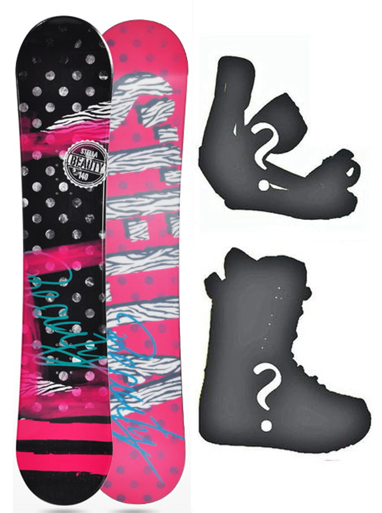 144cm Stella Beauty Black Camber Womens Snowboard, Build a Package with Boots and Bindings.