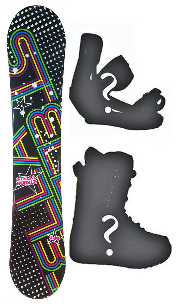 144cm Stella Bubble Black Camber Womens Snowboard, Build a Package with Boots and Bindings.