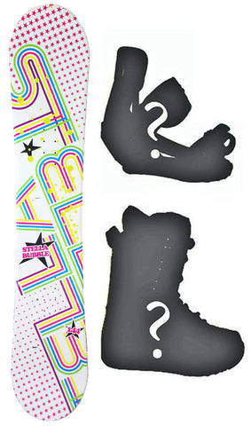 140cm Stella Bubble White, Rocker Womens Blem Snowboard, Build a Package with Boots and Bindings.