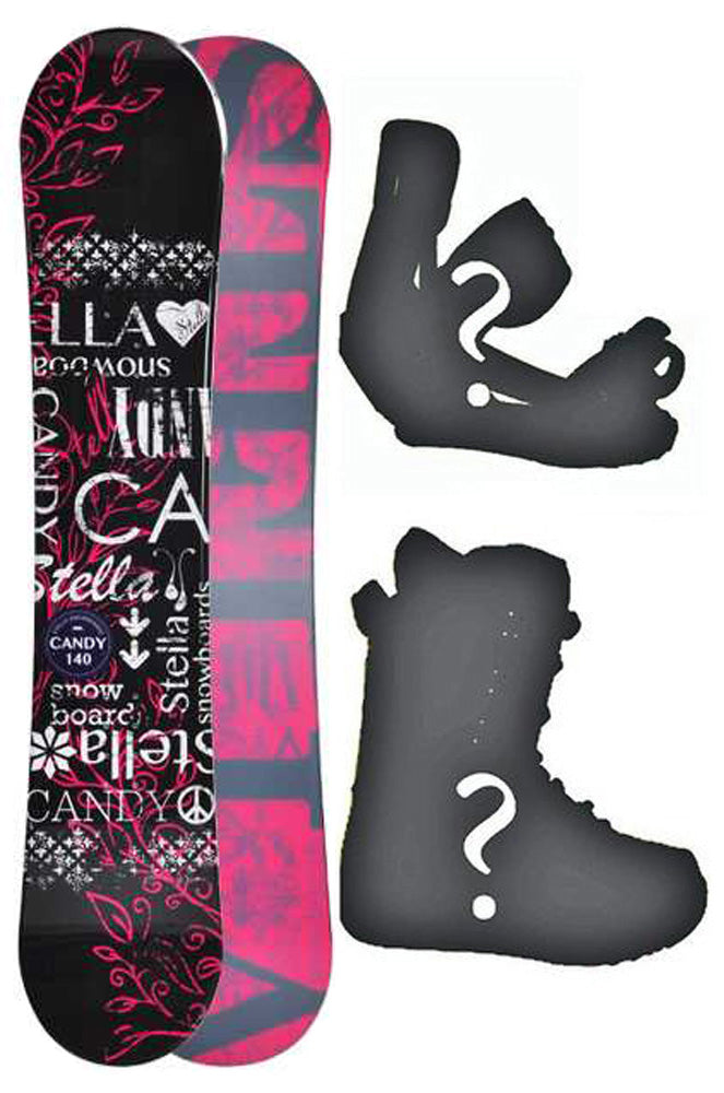 144cm Stella Candy Black Camber Womens Snowboard, Build a Package with Boots and Bindings.