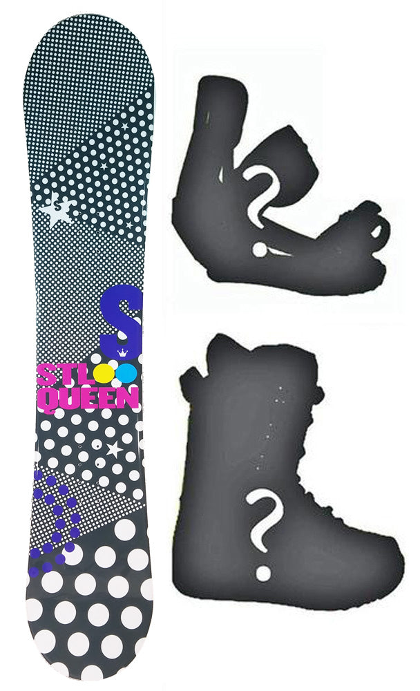 140cm Stella Queen Black Rocker Womens Snowboard, Build a Package with Boots and Bindings.