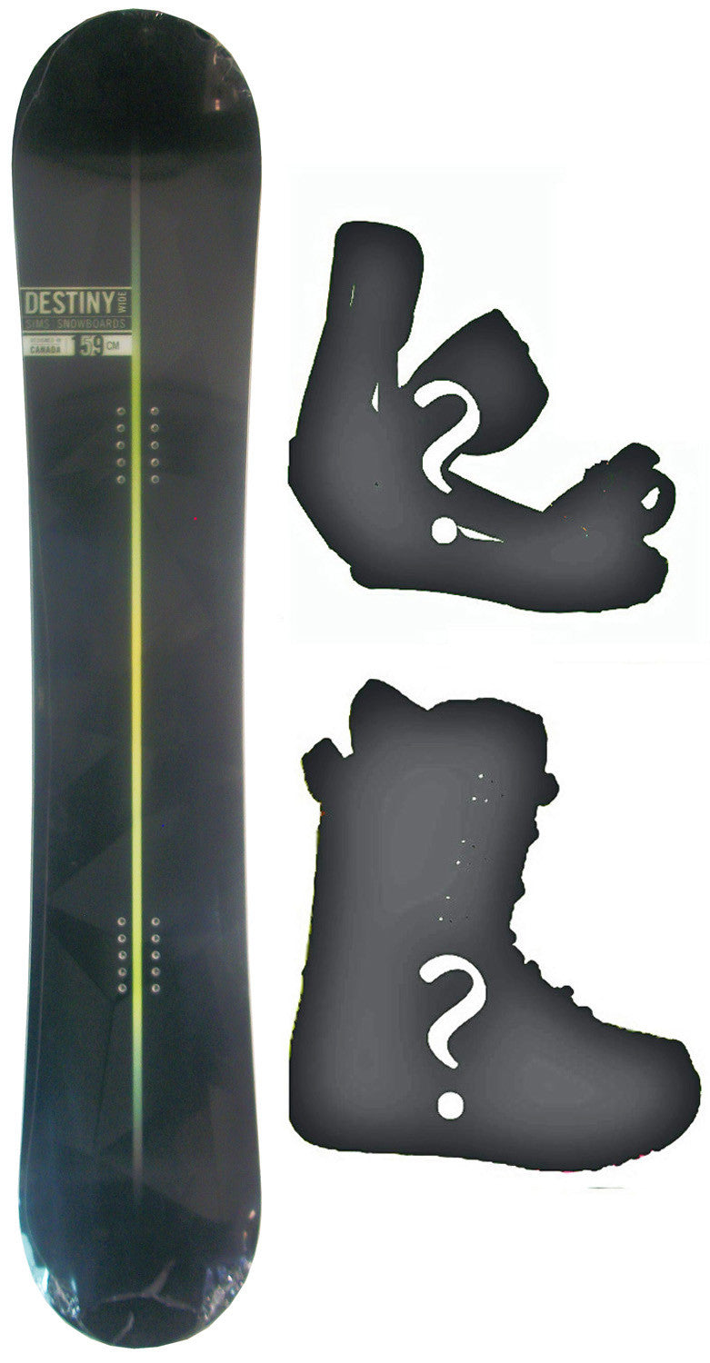 159cm  Sims Destiny Black W-Camber Snowboard, Build a Package with Boots and Bindings