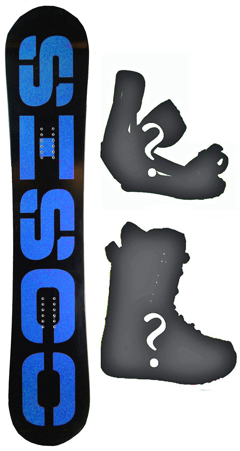156cm  Sisco V6 Black Blue Rocker Snowboard, Build a Package with Boots and Bindings