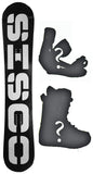 158cm  Sisco V6 Black Gray Rocker Snowboard, Build a Package with Boots and Bindings
