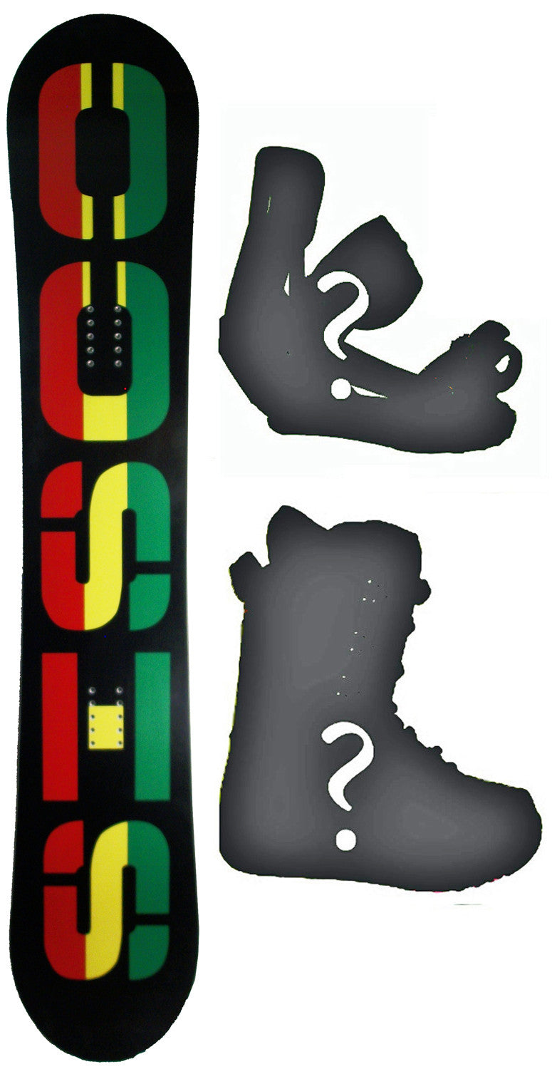 153cm  Sisco V6 Black Rasta Rocker Snowboard, Build a Package with Boots and Bindings