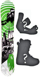 155cm  Sisco Duex Green Rocker Snowboard, Build a Package with Boots and Bindings