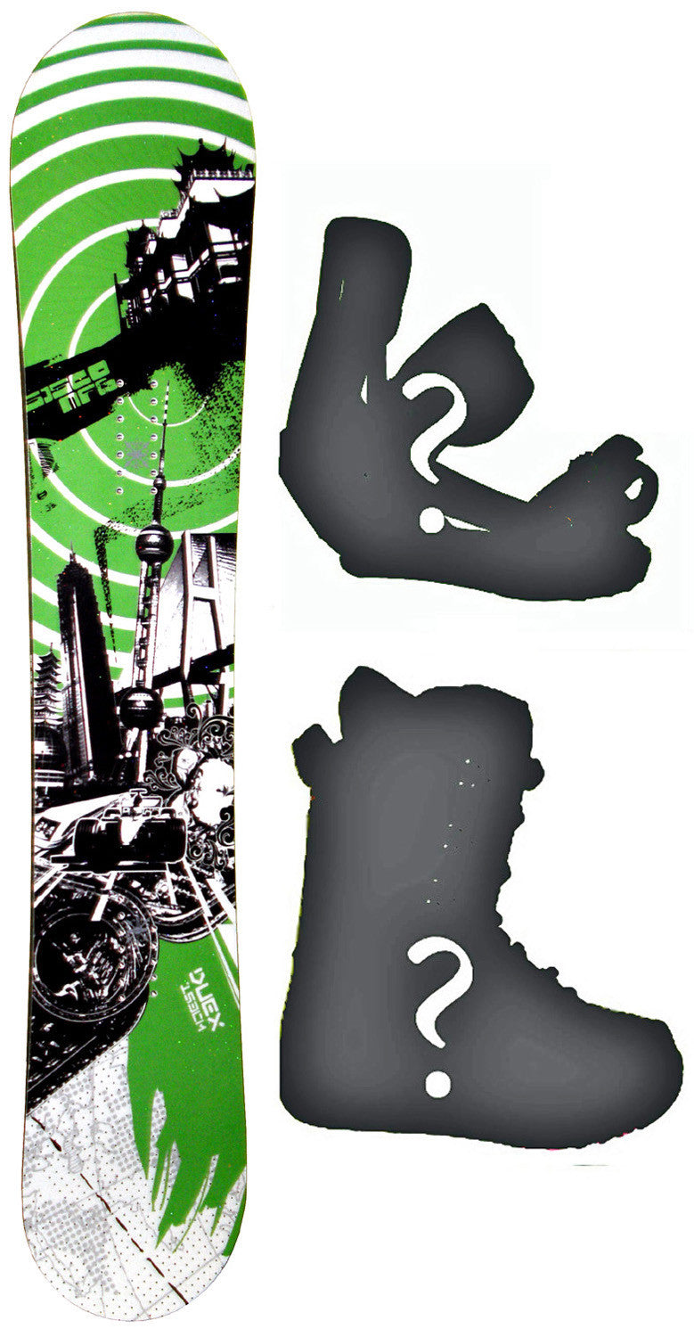 150cm  Sisco Duex Green Camber Snowboard, Build a Package with Boots and Bindings