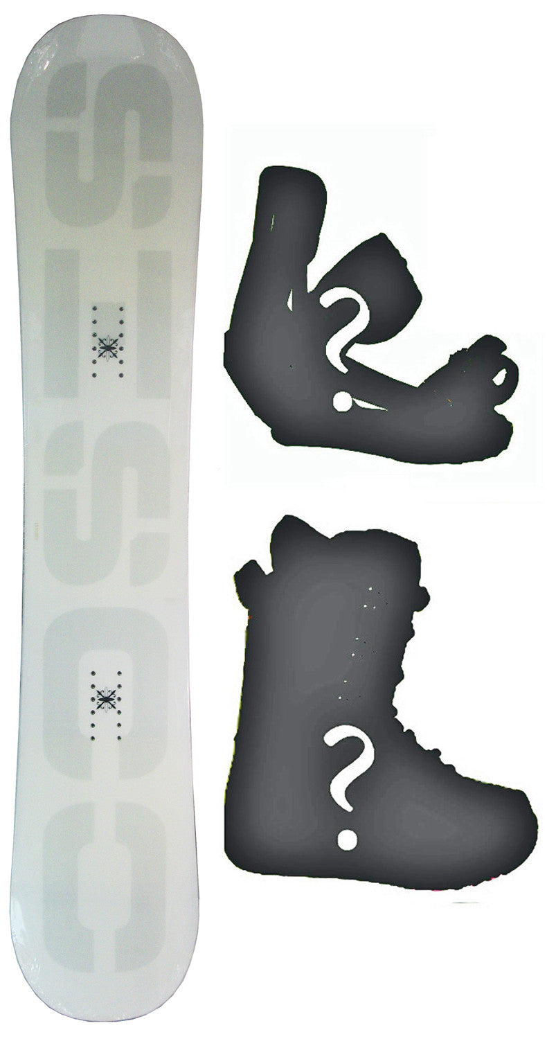 153cm  Sisco V1 White Rocker Snowboard, Build a Package with Boots and Bindings