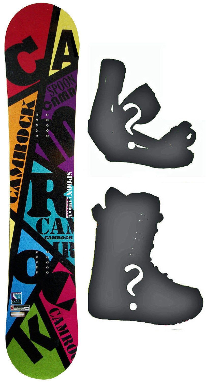 149cm  Spoon Camrock Black Line W-Rocker Snowboard, Build a Package with Boots and Bindings