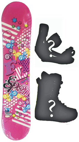 120cm  Spoon Fly Pink Camber Snowboard, Build a Package with Boots and Bindings