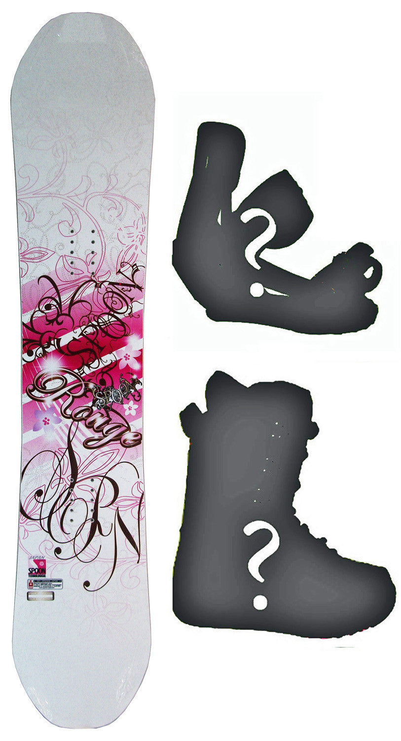 139cm  Spoon Rouge White Flat Rocker Snowboard, Build a Package with Boots and Bindings