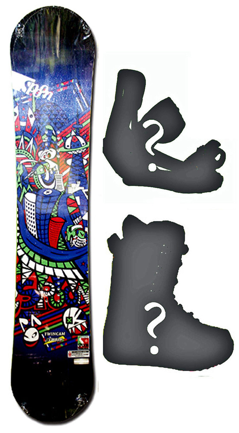 154cm  Spoon Twin Cam Blue Rocker Snowboard, Build a Package with Boots and Bindings