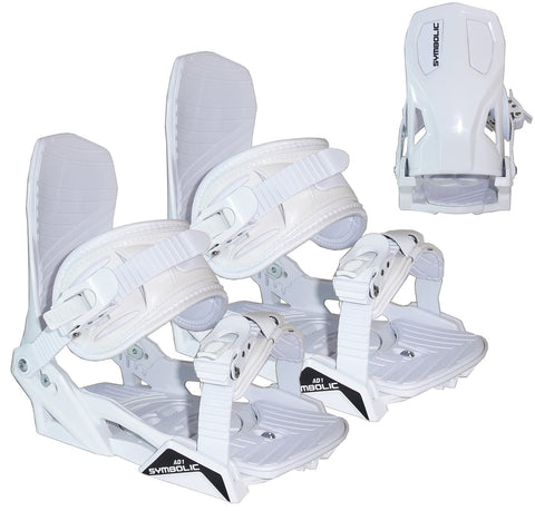 Symbolic AD1 Custom Snowboard Bindings White Ratchit L XL