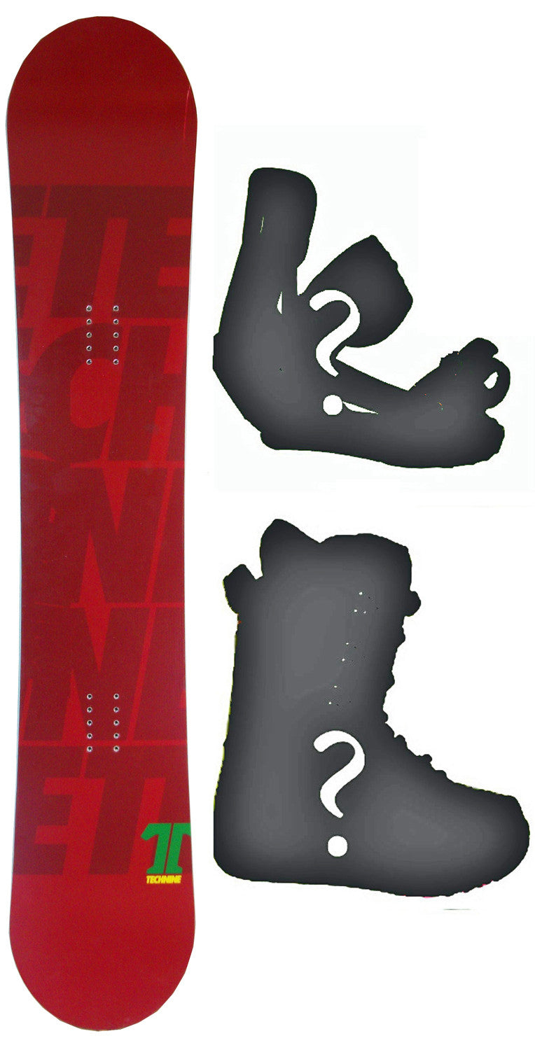 158cm  Technine T-Money Red Rocker Snowboard, Build a Package with Boots and Bindings