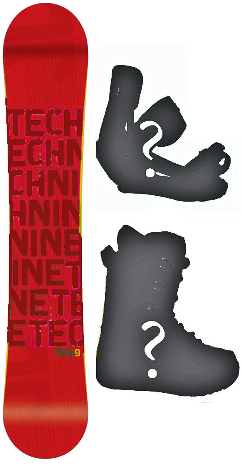 153cm  Technine T-Money Red Rocker Snowboard, Build a Package with Boots and Bindings