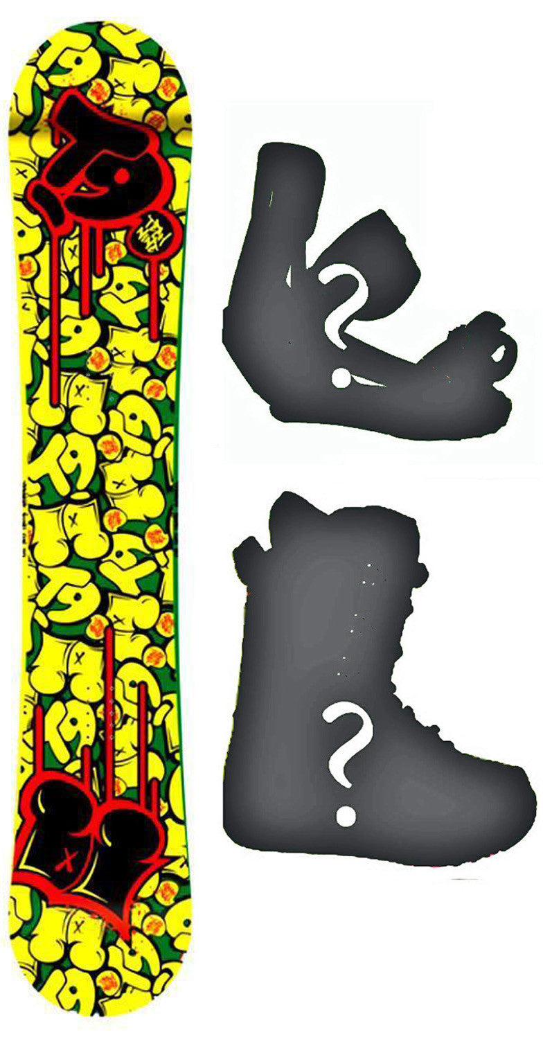 147cm  Technine Young Gun Rasta W-Rocker Snowboard, Build a Package with Boots and Bindings