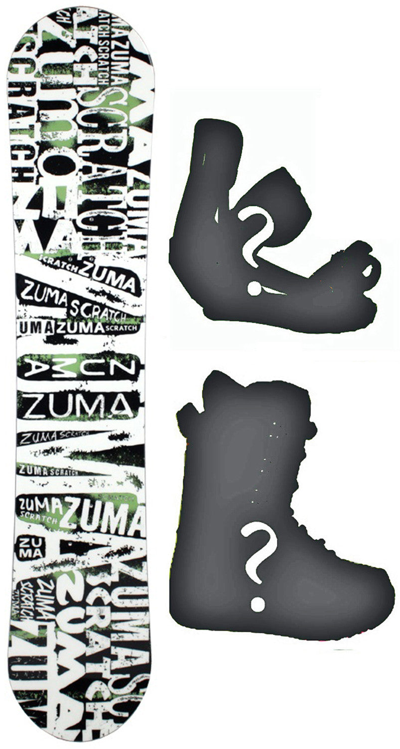 153cm  Zuma Scratch W-Rocker Snowboard, Build a Package with Boots and Bindings