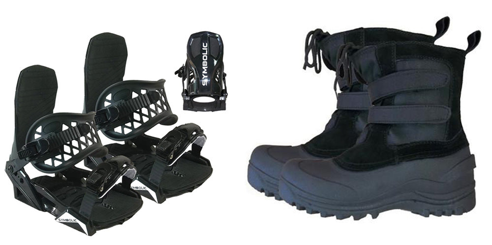 Ams Velcro Snowboard Light Weight Bindings & Snow Boots Package Deal 3,4,5 kids youth