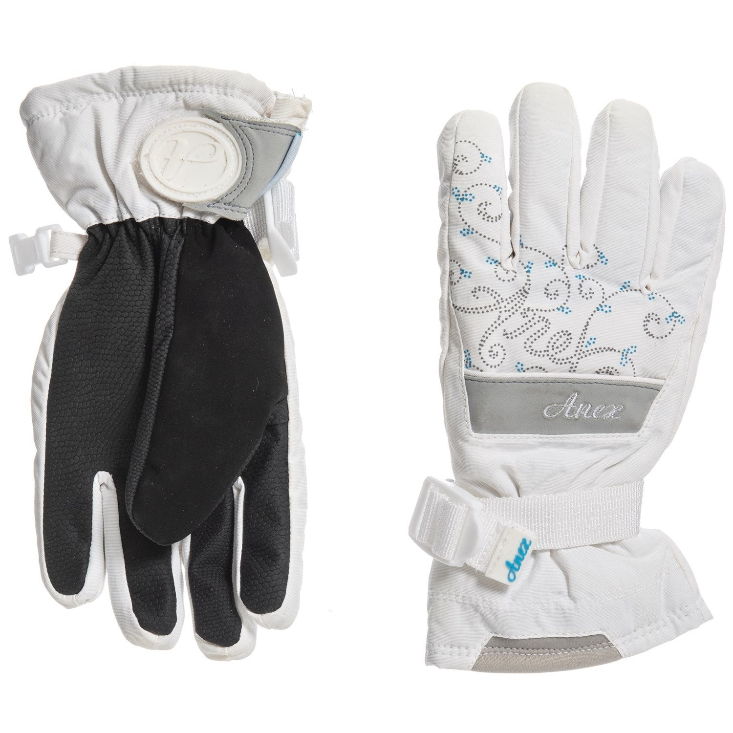 "Anex Snowboard Gloves 5,000mm Waterproof White Blue M L XL Little Girls ""Run Small"""
